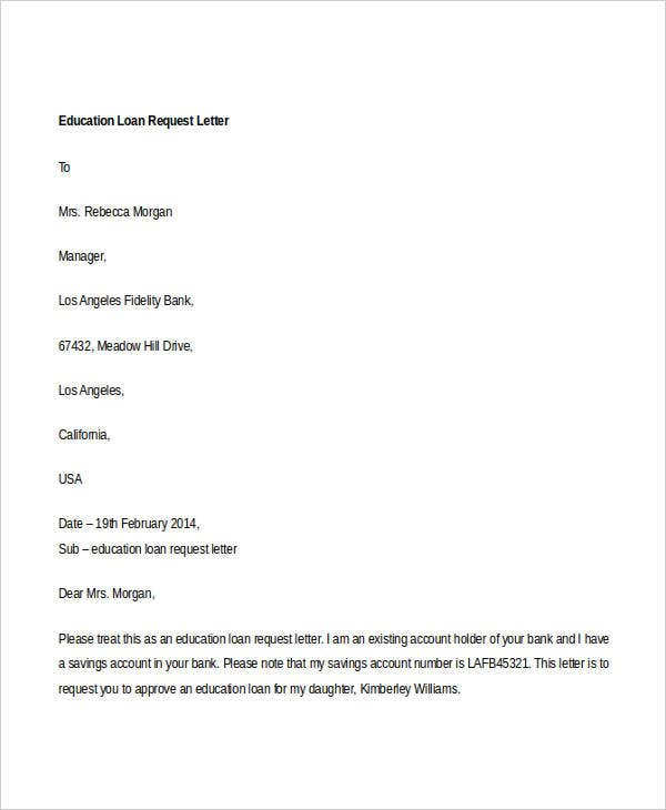 education loan application letter college