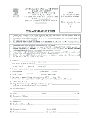 consulate general of india visa application form