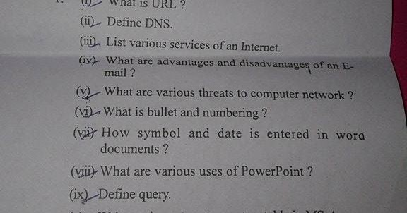 computer application in business question paper