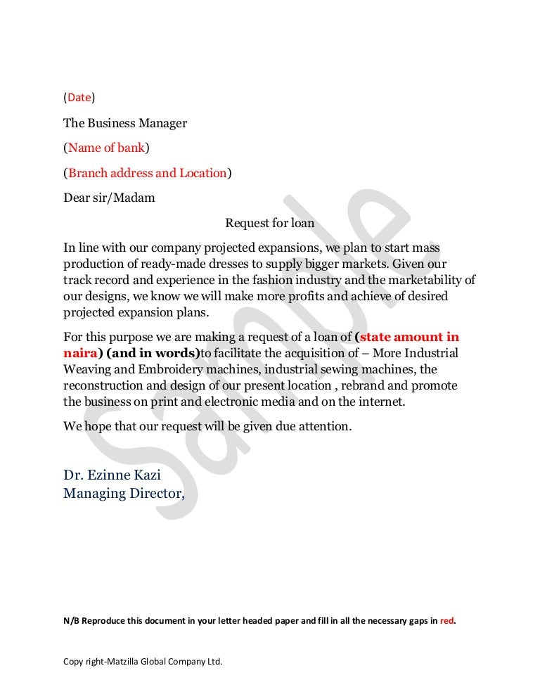 application to the bank manager format