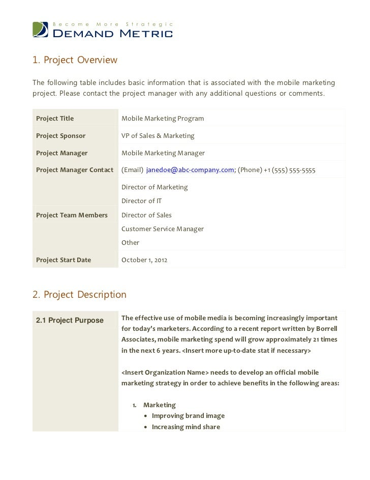 project charter for mobile application