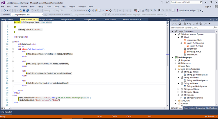 simple mvc application in asp net with database